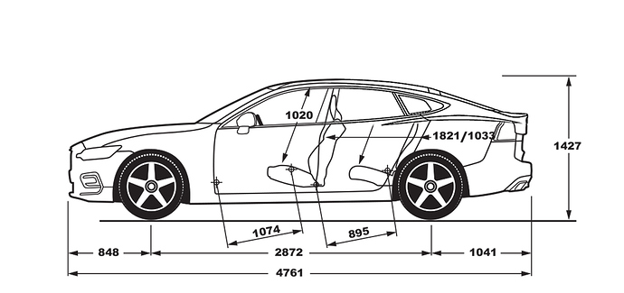 Volvo V60 Tesla Model S Blueprint